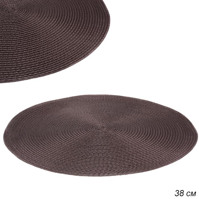 Купить 643481 Салфетка для стола 38 см круглая, коричневая  за 66 ₽